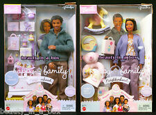 """Grandpa Grandma Happy Family Barbie Doll African American NRFB Smashed Boxes"""" AA"""