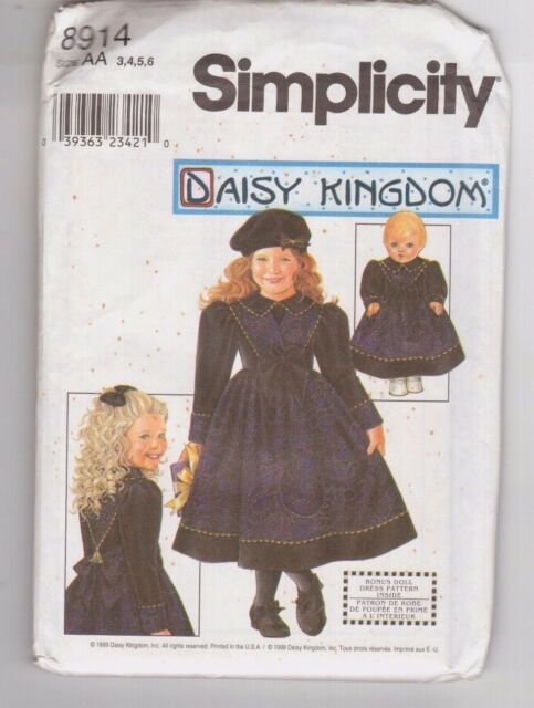 Dress Simplicity 0633 or Simplicity 0633 Daisy Kingdom Matching Girl Pinafore and Matching Doll Outfit