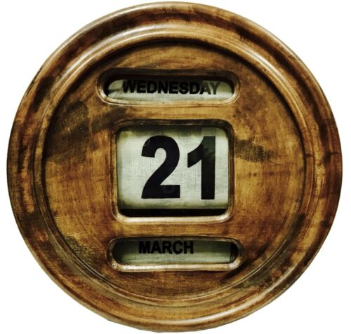 Beautiful Wooden Art Antique Old Decor Perpetual Calander Day,Date /& Month CL 01