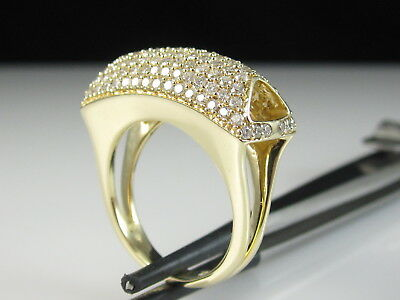 14K Diamond Ring 1.50ctw Dome Cocktail Cluster Yellow Gold Split Shank Size 6.75