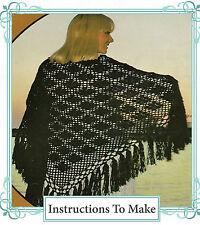 Vintage Retro Crochet Patrón-cómo hacer una bonita y fácil de encaje con Flecos Chal