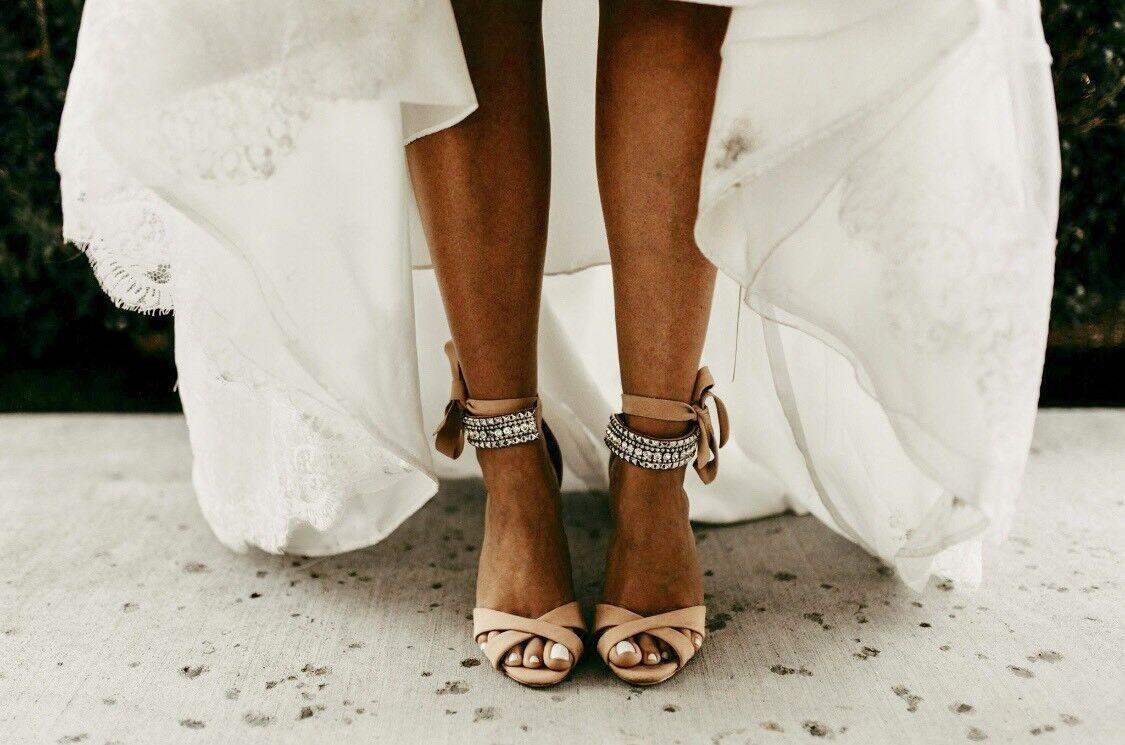 NIB  Schutz Euzalia Open Peep Toe Ankle Strap Embelleshed Nude Heels 8.5