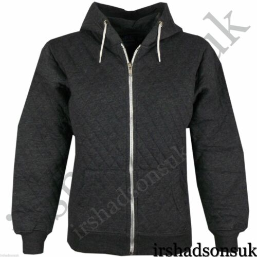 New Kids Girls /& Boys Quilted Plain Hoodie Zip Up Style Hooded Jacket 2-13Year