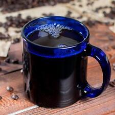 New Libbey Glass 4 Robusto Cobalt Blue 13oz Coffee Tea Mugs #5213B