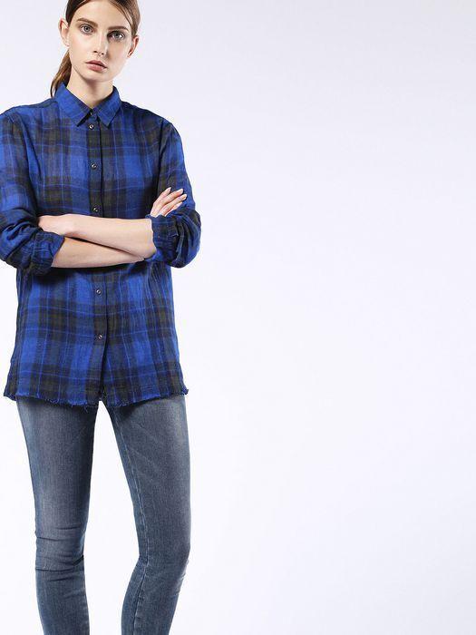 UVP Neu Diesel DAMEN Hemden GRÖSSE S C-Gala-C Camicia Schottenkaro Style Blau
