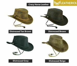 Crazy-Horse-Cowboy-Hat-Western-Australian-Real-Leather-Outback-Bush-Hat-4-Colors