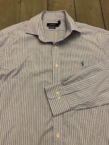 Polo-Ralph-Lauren-Button-Down-Easy-Care-Shirt-Men-039-s-16-5-32-33-M-Blue-stripe