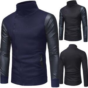 Men-039-s-Winter-Warm-Slim-Fit-Stand-Collar-Sweatshirt-Coat-Jacket-Outwear-Sweater