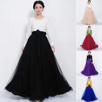 Women 3 Layers Tulle Mesh Bowknot Long Maxi Dress Pleated High Waist Full Skirt