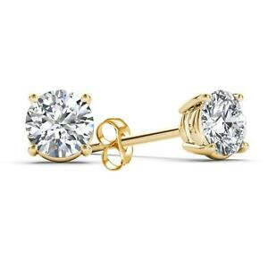 14Kt Yellow Gold 3/4 Ct Genuine Natural Diamond Round Stud Earrings