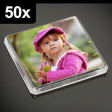 50x Clear Acrylic Blank Fridge Magnets 58 x 58 mm | Square Size Photo