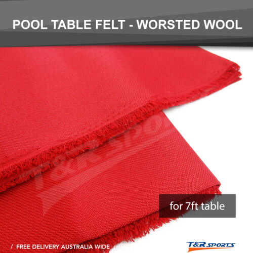 Red Worsted Fast Speed Pool Table Felt Billiard Cloth + 6x Strips Size 2m x 1.5m