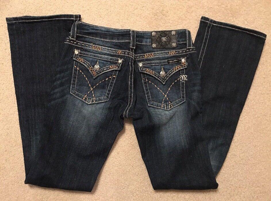 EUC  Womens Miss Me Denim Embellished Heavy Stitch Boot Cut Jeans Sz 28