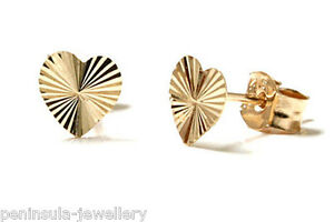 Image Is Loading 9ct Gold Tiny Diamond Cut Heart Stud Earrings
