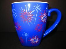 Starbucks Barista Coffee 2002 Mug Red White Blue Tea Cup Fireworks Blue Ceramic