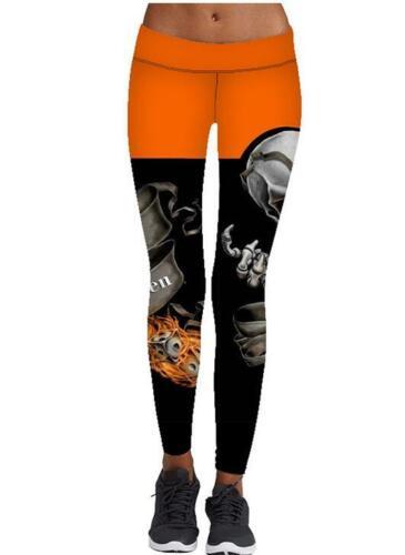 Fleuri Crâne Imprimé Sport Leggings large ceinture Slim Femme Legging S-4XL