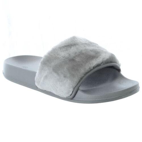 Mujer señoras Slip on Flat Farrah Goma Control Deslizante Mulas Zapatos Sandalias Zapatillas De Piel