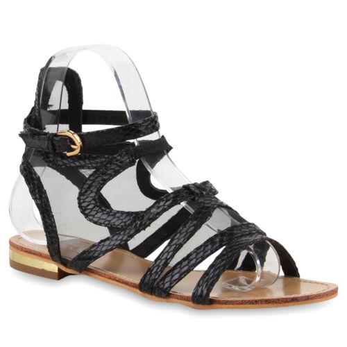 Damen Riemchensandalen Strass Leder-Optik Bequeme Sommer Schuhe 890723 Top