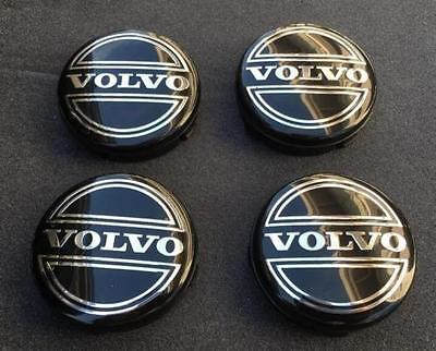 NEW 4PC SET OF 4 VOLVO BLACK CENTER WHEEL HUB CAPS COVER LOGO RIMS 3546923