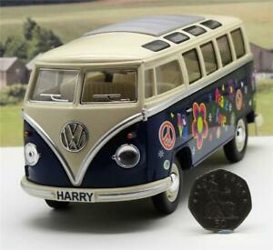 PERSONALISED-PLATES-Gift-Hippy-VW-Camper-Van-Bus-17cm-1-24-Boys-Girls-Toy-Model