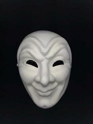 Unpainted Full Face Blank Masquerade Mask - Cosplay Costume Party DIY Mask
