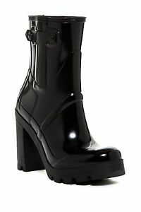 hunter original high heel black glossy rubber rain boot