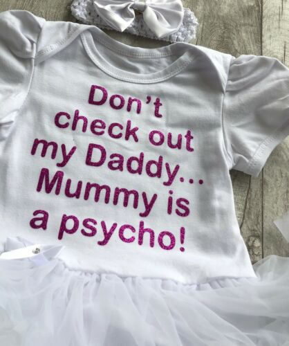 DADDY MUMMY TUTU ROMPER Dark Pink Glitter Dont check out Daddy Mummy Psycho