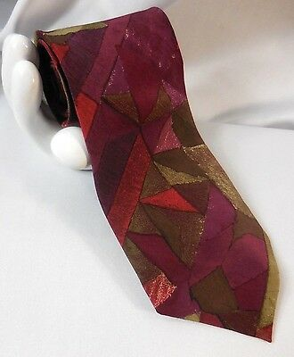 "UNGARO Paris Men's Silk Tie Geometric Abstract 3.75""x 58"" Purple Taupe Brown Red"