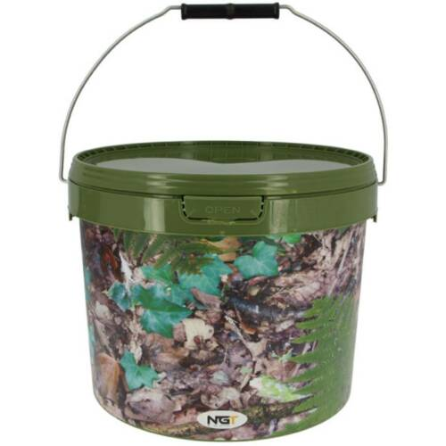 10 X ROUND 5L CAMO BAIT BUCKETS FOR BOILIES PELLETS CARP COARSE FISHING TACKLE