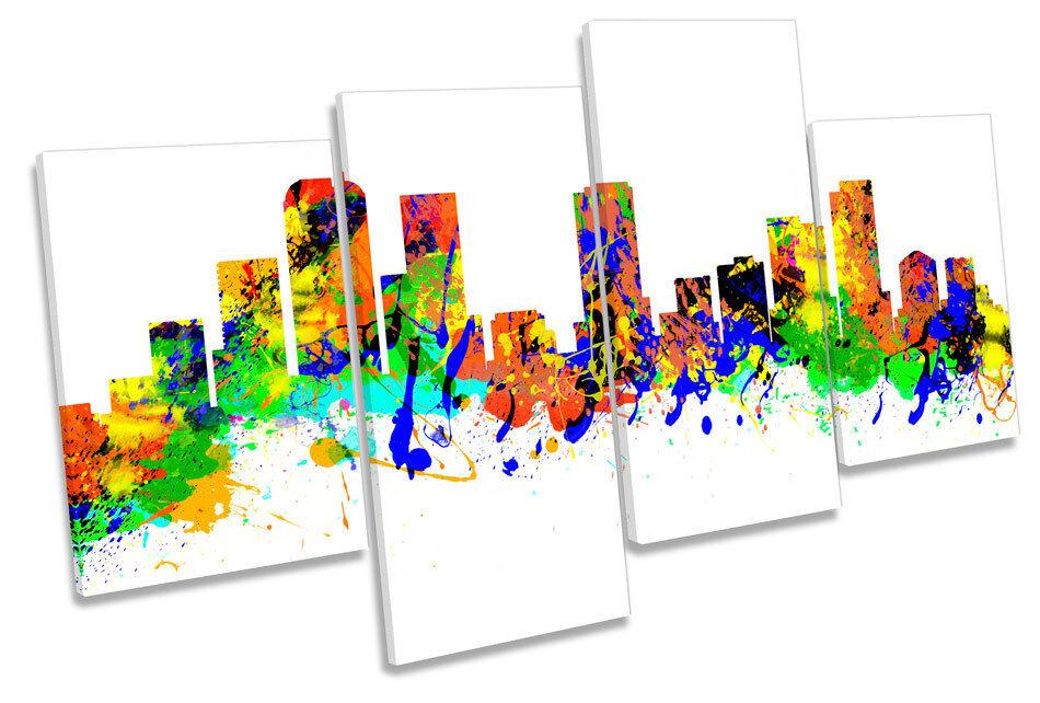 Denver CITY SKYLINE Coloreeeeado Moderno Multi Canvas WALL ART PICTURE PRINT