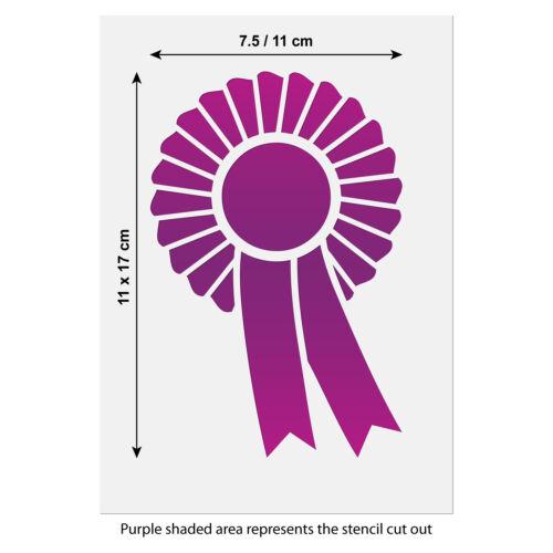 Rosette Stencil Craft Size Prize Ribbon Template A5 /& A6 Sizes