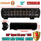 12Inch OSRAM 120W LED Spot Work Light Bar Offroad Driving 4WD Truck ATV SUV Car