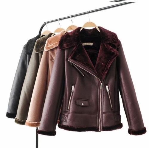 Kvinder lynlås Biker Læder Jacket Shearling Outwear Punk Lined Aviator Coat Fur rrqnAxR