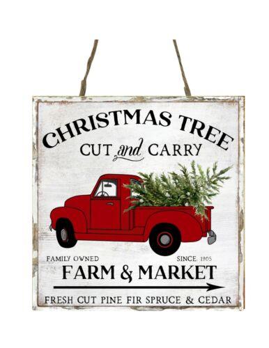 Christmas Tree Farm Cut and Carry Wood Farmhouse Christmas Ornament Small Sign