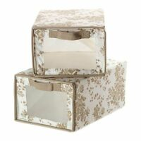 Ikea Garnityr Shoe Box Closet Organizer Storage Floral Beige Set Of 2, New, Free on Sale