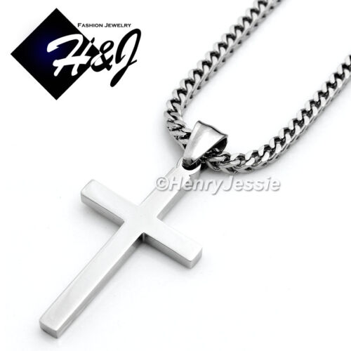 """24/""""Stainless Steel 2mm Silver Franco Box Curb Necklace Plain Cross Pendant*SP29"""