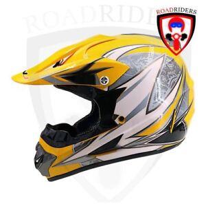 Road Riders HNJ Off Road Motocross Helmet - YELLOW