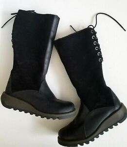 Fly-London-Tall-Boots-Suede-Leather-Black-Faux-Fur-Lining-Size-38-EU-7-5-8-US