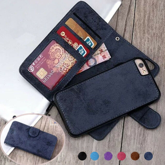 quality design 9d286 1866f Retro Magnetic Leather REMOVABLE Detachable 2in1 Wallet Flip Phone Case  Cover