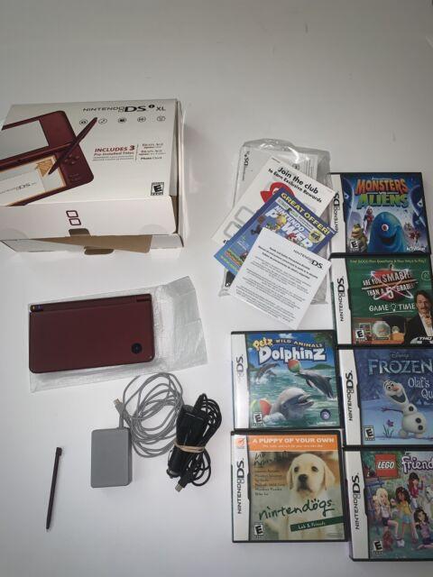 Nintendo Dsi Xl Burgundy 6 Games Car U0026wall Charger Tested   Read Description