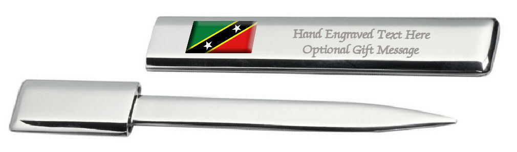 St. Kitts & Nevis Drapeau Engraved Post Lettre Bottle Opener Étui