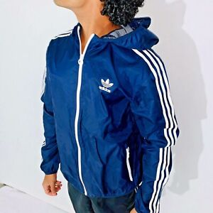 Details about Super Rare Vintage Adidas Originals Jacket Windbreaker Navy Blu Shell Cal Surf L