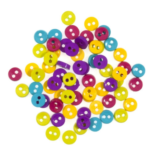 Miniature Round Craft Buttons 2 Hole Flat 4g Pack Trimits