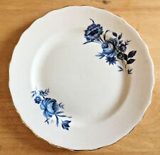 Elizabethan Fine Bone China Plate Taylor and Kent England Blue Flowers Gold Rim