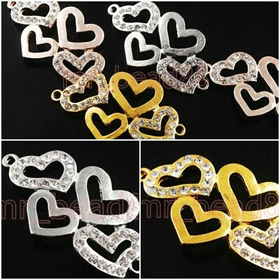 2 Charms Crystal Rhinestone Curving Heart Bracelet Connector Finding 44x24mm