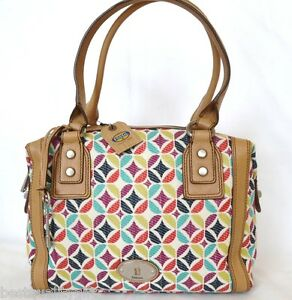NEW-FOSSIL-MARLOW-DIAMOND-CANVAS-LEATHER-SIG-SATCHEL-SHOULDER-HAND-BAG-PURSE