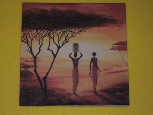 5 x African New Day Frauen afrika orange sonne baum Servietten Serviettentechnik