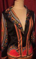 AFRICAN AFRICA DASHIKI PRINT JACKET BLAZER COAT SIZE UK 10 12 MEDIUM COLOURFUL