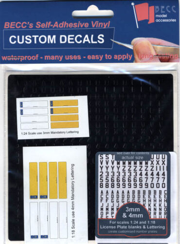 1:24 Scale Number Plates Becc 1//18 3-4mm