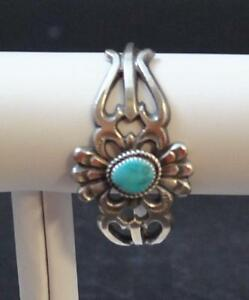 Navajo-Native-American-Sand-Cast-Turquoise-With-Matrix-SS-925-Cuff-By-E-Mitchell